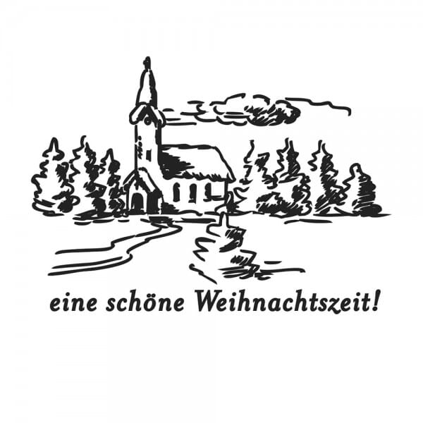 Weihnachten Holzstempel - Kirche (40x30 mm)