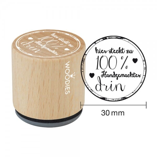 Woodies Stempel - Hier steckt zu 100% Hand - Herz