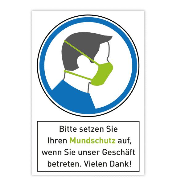 Warnschild - Bitte setzen Sie Ihren Mundschutz auf. (200x300 mm)