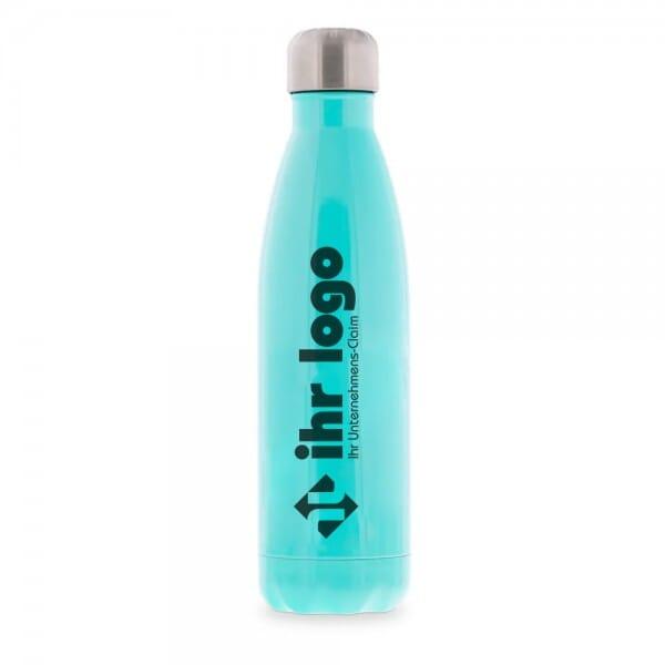 Isolierte Trinkflasche aus Edelstahl mit individuellem Schwarzdruck (Gravurmaß 90x60 mm)