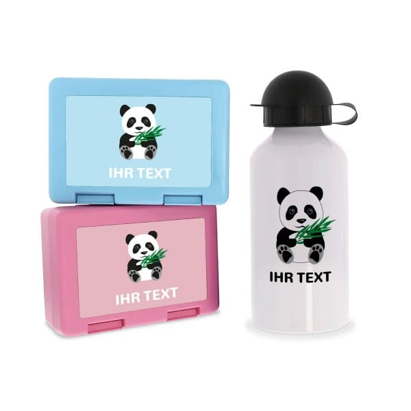 "Individuelles SET Brotzeitbox & Trinkflasche ""Panda"""