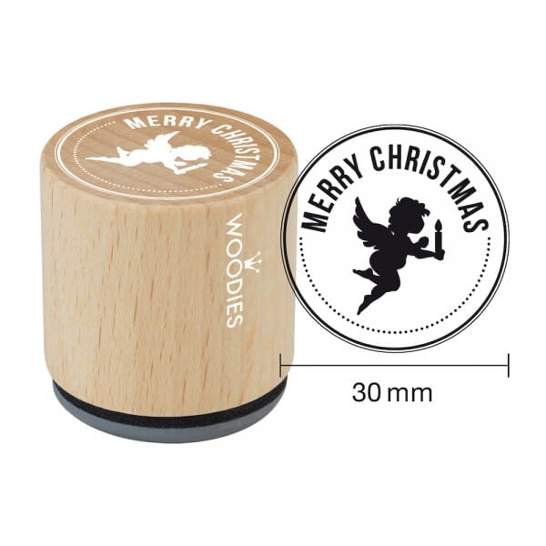 Woodies Stempel - Merry Christmas - Engel W07003