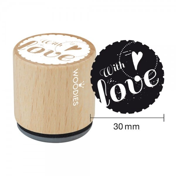 """Woodies Stempel Motivstempel /""""Made with Love/"""" ø 30 mm"""