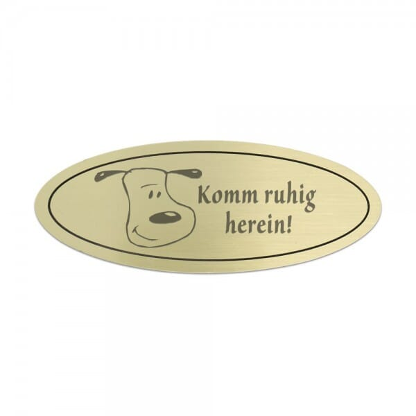 Tierschild aus Messing oval (Gravurmaß 50x30 mm - 5 Zeilen)