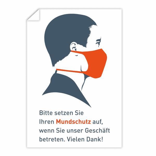 3 Stück Aufkleber - Bitte setzen Sie Ihren Mundschutz auf. Orange (200x300 mm)