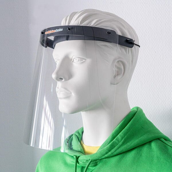 Professionelles Gesichtsschutz-Visier hochtransparent / glasklar aus elastischem Kunststoff