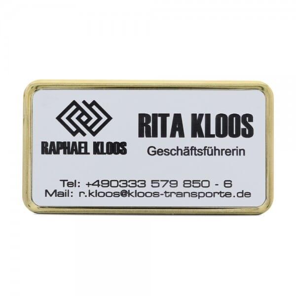 Ansteckschild-Namensschild mit Metallrahmen gold (69,5x34,5 mm)