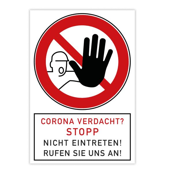 Verbotsschild - Corona Verdacht? Stopp (200x300x4 mm)