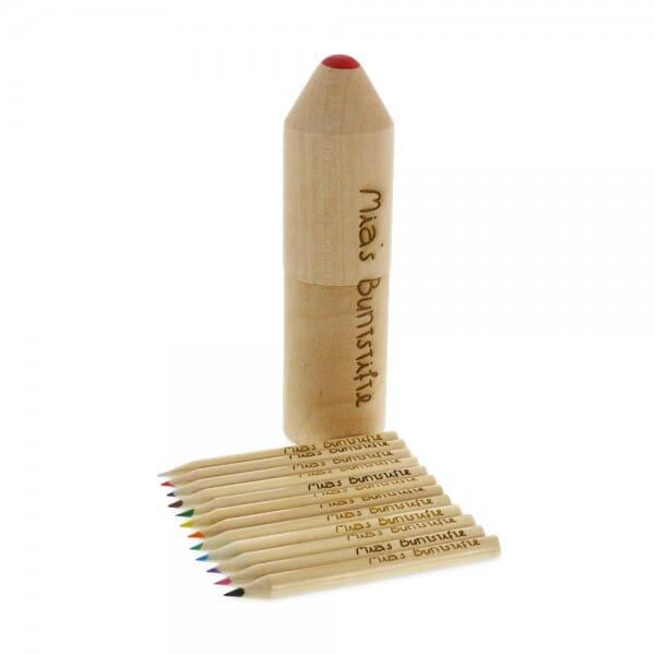 Holzbox mit 12 Buntstiften (Gravurmaß 10x1,3 cm / 0,8x0,05 cm)