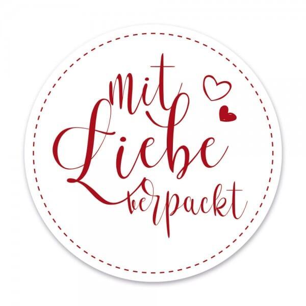 """Aufkleber Mit Liebe verpackt """"rot"""" (60 Stück - ø 46mm)"""