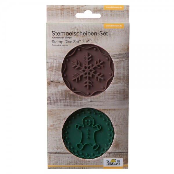 Stempelscheiben Set für Keksstempel - Gingermann und Schneeflocke (Ø70 mm)
