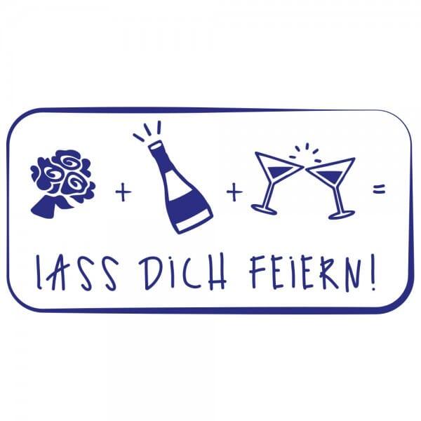 Feierlichkeiten Holzstempel - Lass Dich feiern (60x30 mm)