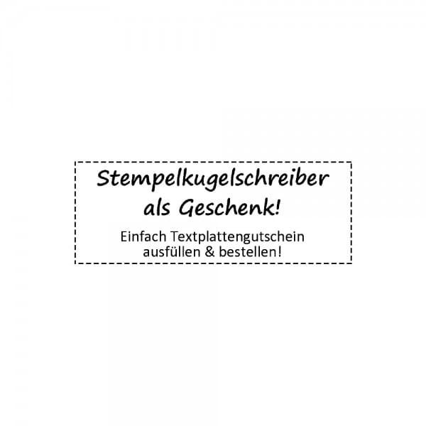 Stempelkugelschreiber Rigoni mit Textplattengutschein (37x14 mm - 4 Zeilen)