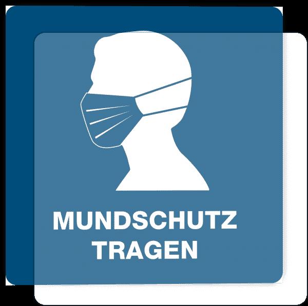 3 Stück Hinweis-Hinterglasaufkleber - Mundschutz tragen (150x150 mm)