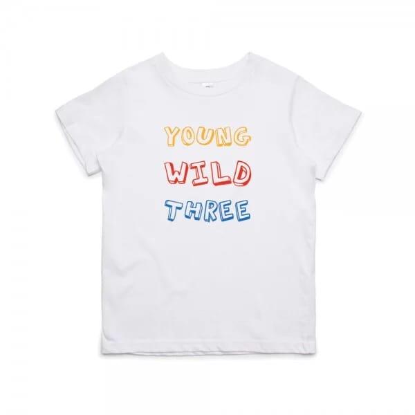 """Kinder T- Shirt zum 3.Geburtstag """"YOUNG WILD THREE"""""""